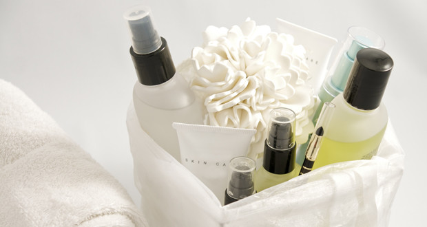 skin care products in a basket